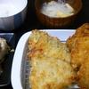 アジフライ、里芋ミンチ、味噌汁