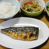 今日の食べ物 朝食に塩鯖と青椒肉絲