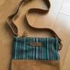 お出かけや旅行に活躍  手織り布と水牛革のコラボポシェット