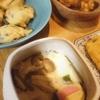 山芋かき揚げ天、茶碗蒸し、茄子豚肉、玉子焼き