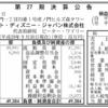 ウォルト・ディズニー・ジャパン株式会社 第27期決算公告