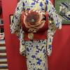 籠目に桔梗平絽小紋×赤地夏椿八寸絽袋帯