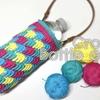 セリアトロピカルコットンで不思議な模様編みのボトルカバー を編む