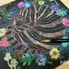 簡単と思ったら難しかったスクラッチアート「猫と花と可愛いもの」