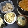 レバーの甘辛煮、白菜塩昆布、白菜漬け、味噌汁、レンコン佃煮