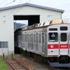 須坂駅構内車輪転削線に8500系T5編成