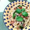 トマトとバジルのペペロンチーノ