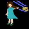 イラストACに風に飛ばされる麦わら帽子と女性、小雨のイラストを追加!