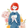 花と女の子 水彩イラスト