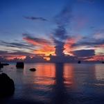 タオ島 サイリービーチ(Sairee Hut Resort)のサンセット夕焼け空の変化がすごい!!夕方~夜にかけて。。。