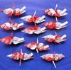 「おみくじ」付き紅白折り紙(折り鶴)