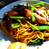 小松菜·シイタケ·ウィンナーの中華風スパゲッティ