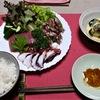 刺身定食と手羽元塩焼き