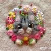 【花ねこのブローチ】優しいピンクのイメージ  サバトラちゃん