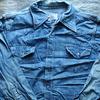 私の古着から1970年代「BIG MAC(ビッグマック)」のデニムウェスタンシャツをご紹介。見た目やタグの特徴、着こなしなどを書きました