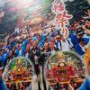 延期された深川八幡祭りの巨大な横断幕