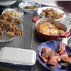 幸運な病のレシピ( 360 ) 朝:ポテトアスパラグラタン、カボチャ、鶏唐揚、厚揚げ入りキンピラ、卵焼、鮭