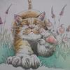 完成】三菱No.888色鉛筆で猫が伸びーッのページを塗ってみました☆おとニャーの塗り絵ノートより