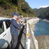 瀬戸石ダムの土砂堆積状況を調査
