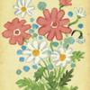 花の絵レトロ 水彩