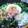 6月14日(月)昼食の冷やしうどんと、夕食のアジの干物。
