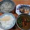 焼き鯖とモヤシのバター炒めと数の子と椎茸のお吸い物