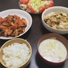 豚コマとキャベツの味噌炒めの晩ご飯