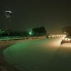 雪に埋もれた夜の五稜郭公園…