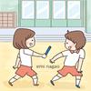 運動会の練習をする子供のイラスト