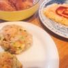 鯖とはんぺんバーグ、焼きライス、唐揚げ