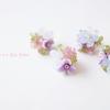 紫陽花のブーケ刺繍ピアス・イヤリング、1点ずつお店に並べました