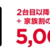 ワイモバイルの「家族のスマホまとめてキャンペーン」で2台目以降5,000円/台の割引還元!