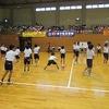 東海市小学校ドッジボール大会① 試合前の練習で