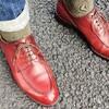 秋らしくCarminaの赤色の革靴で!
