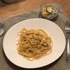 白菜と鮭の和風パスタ、きゅうりとコーンとちくわのサラダ