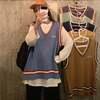 【韓国ファッション】ニットベスト Vネック ラインベスト トップス ニット ゆるかわ