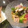 海鮮サラダ、黒豚のきのこ巻きわさびソースなど