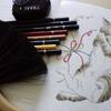 完成】ユニカラー色鉛筆でばってん寝ページが塗りあがりました☆おとニャーの塗り絵ノートより