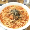 健康料理「牛、豚肉と野菜のトマトスープパスタと豆腐とサバの和え物」