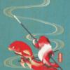 浮世絵イラスト/いざ出陣金魚