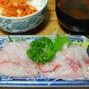今日の食べ物 夜食にイトヨリの刺身