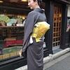 【コーディネート例】縞の江戸小紋と菊の帯で浅草おどりへ(10月下旬)