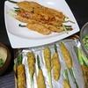 アスパラひき肉巻き、味噌汁、そら豆