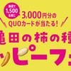 亀田の柿の種ハッピーフェア1,500名にQUOカード3,000円分が当たる!