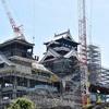 熊本城 最上階解体へ足場の工事