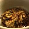 帰宅後の一人和食:ボウゼ(えぼ鯛)塩焼き、野菜の炊き合わせ、なめ茸、大根と春菊の味噌汁