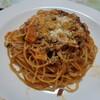 挽肉のラグーソーススパゲティ・レタス炒飯