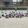 1・6年生:運動会ペア練習③ 控え席&玉入れ