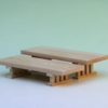 神棚の手前で豆八足台の高さ違いを使うと二段式として使えます