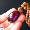 精神を安定させ、本来の自分を取り戻したいあなたへ!ぷっくりかわいいアメジスト(紫水晶)×10面ルドラクシャの高品質ルドラクシャマーラーペンダント(菩提樹の実)第7チャクラ対応